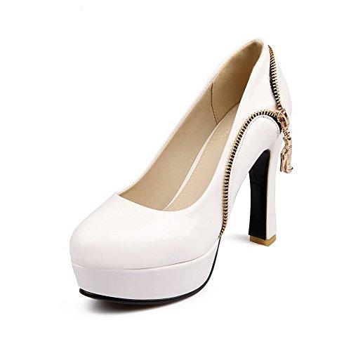 en mujer blanco altos y de PU zapatos VogueZone009 bombas tacones punta Tirón redonda sólidos tEq8O