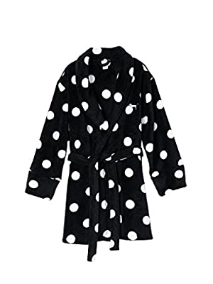 Victoria's Secret PINK Cozy Black Polka Dot Robe M/L