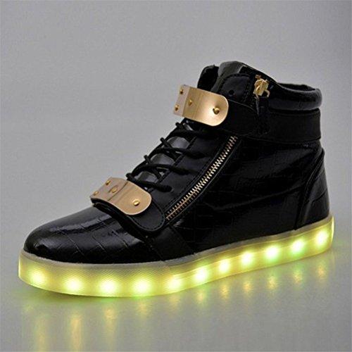 femmes de course Tr petite de LED haut Noir clignotantes sportive Baskets haut Présent serviette pour Nouveauté chaussures les 2016 illumine chargement USB JUNGLEST® fWvTwY
