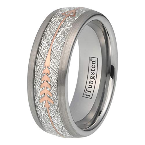 Black Gold Silver Wedding Bands - iTungsten 8mm Tungsten Rings for Men Women Wedding Bands Meteorite Arrow Inlay Black/Silver/Gold/Rose Gold Comfort Fit