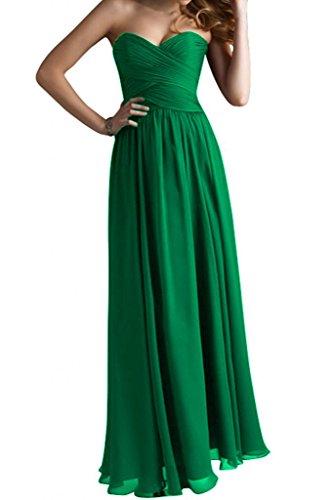 Gorgeous Bride Modisch Herzform Chiffon Lang A-Linie Abendkleid Festkleid Abendmode Grün 8a6C0
