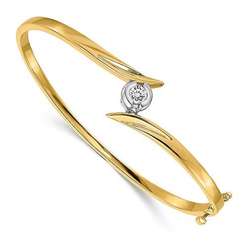 Jewelry Adviser Bangle Bracelets 14k Two-tone VS Diamond bangle Diamond quality VS (VS2 clarity, G-I color)