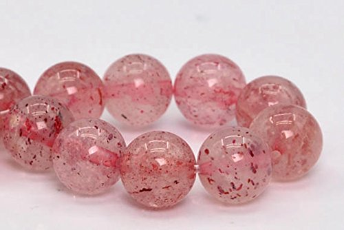 jennysun2010 Natural Strawberry Quartz Gemstone 8mm Smooth Round Loose 50pcs Beads 1 Strand for Bracelet Necklace Earrings Jewelry Making Crafts Design Healing
