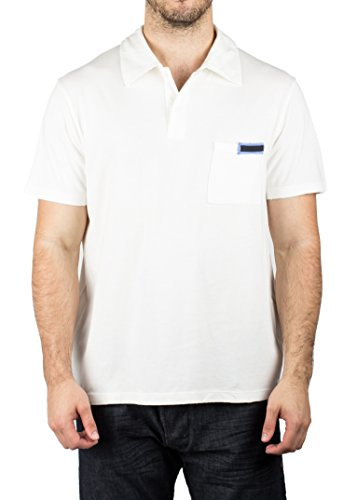 Prada Men's Jersey Sport Pima Cotton Slim Fit Pocket Polo Shirt - Prada Polo White