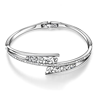 "Menton Ezil ""Love Encounter"" Swarovski Crystals Bangle Bracelets White Gold Plated Adjustable Hinged Jewelry"