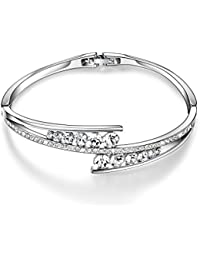 Love Encounter Swarovski Crystals Bangle Bracelets White Gold Plated Adjustable Hinged Jewelry