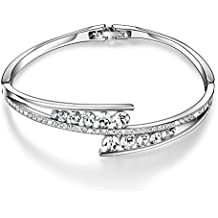 Menton Ezil Love Encounter Swarovski Crystals Bangle Bracelets White Gold Plated Adjustable Hinged Jewelry