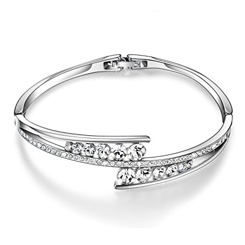Menton Ezil Love Encounter Swarovski Crystals Bangle Bracelets White Gold Plated Adjustable Hinged Jewelry by...
