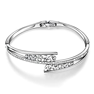 Menton Ezil Love Encounter Crystals Bangle Bracelets White Gold Plated Adjustable Hinged Jewelry