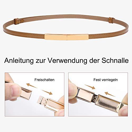 WERFORU Damen Skinny Leather Belt Verstellbarer Fashion Thin Waist Belt für Kleid