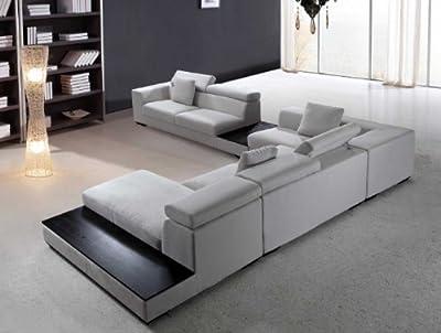 Vig Furniture Forte - Grey Microfiber Modern Sectional