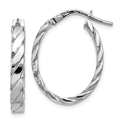 14k White Gold Polished Hoop (3 mm Patterned Oval Hoop Earrings in Genuine 14k White Gold - 24 mm)