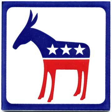 (POLITICAL AND PATRIOTIC GIFTS-DEMOCRAT DONKEY CERAMIC WALL PLAQUE by Besheer Art Tile, Bedford, New Hampshire, U.S.A)