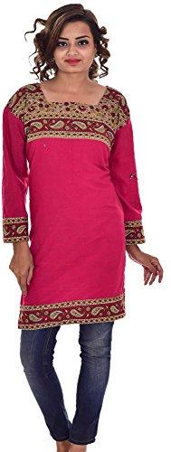 Indian-Pink-Color-Top-Kurta-Women-Ethnic-Tunic-Kurti-plus-size-Paisley-Print-100-Cotton