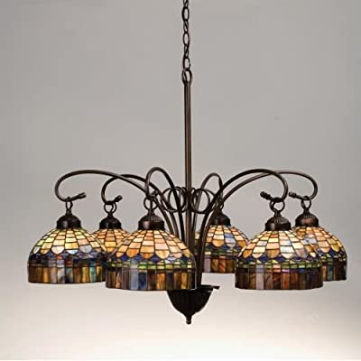 Meyda Tiffany 18693 Stained Glass / Tiffany 6 Light Down Lighting Chandelier fro,