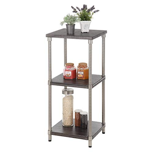 Home Zone Bookcase Storage Rack with 3-Tier Narrow Shelving Unit | Steel and Wood with Satin Nickel Finish