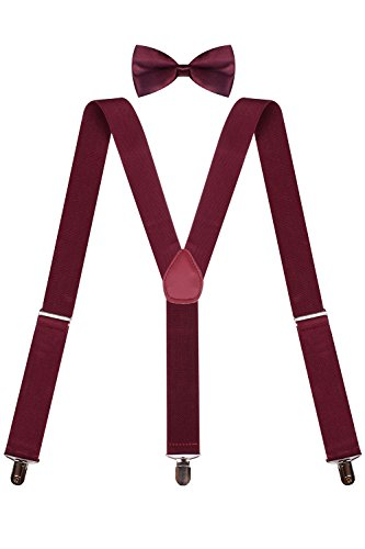 Unisex Bow Tie and Suspenders Strong Clip Suspenders Mens Pre Tied Bow Tie Wine2