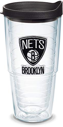 - Tervis 1079868 NBA Brooklyn Nets Primary Logo Tumbler with Emblem and Black Lid 24oz, Clear
