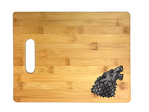 Single Wolf Head Game Crest TV Show Parody 3D COLOR Printed Bamboo Cutting Board - Wedding, Housewarming, Anniversary, Birthday, Mother's Day, Gift (Wolf)