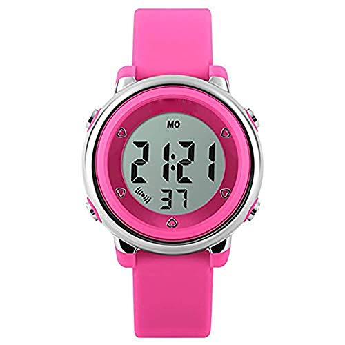 (JOLLY Led Children's Watch Primary School Jelly Bracelet Men and Women Fashion Trend Waterproof Luminous Electronic Watch (Color : Pink))