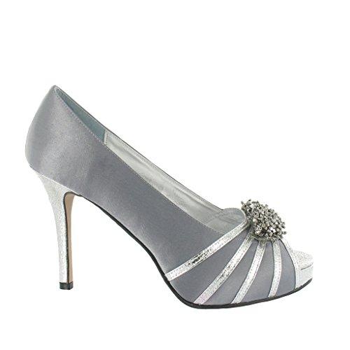 Glitter Platform and Design Heel Ladies Lexus Grey High with Beaded w64xp4Xtqn