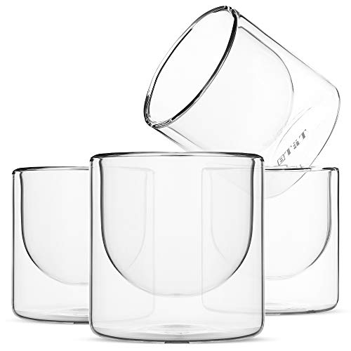 BTäT- Double wall glass, Set of 4 (6.5 oz, 190 ml), Insulated Drinking Glasses, Espresso Cups, Glass Coffee Cups, Cappuccino Cups, Scotch Glasses, Glass Mug for Hot & Cold Beverages, Tea Cups