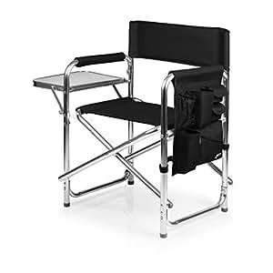 Picnic Time Portable Folding Sports Chair, Black