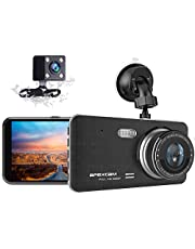"""[2021 New Version] Apexcam Dash Cam 1080P FHD 4"""" IPS Driving Recorder Front and Waterproof Rear Lens Camera 170°Wide-Angle Dashboard Backup Cars Camera With G-Sensor WDR Loop Recording DVR Parking Monitor Motion Detection Night Vision"""
