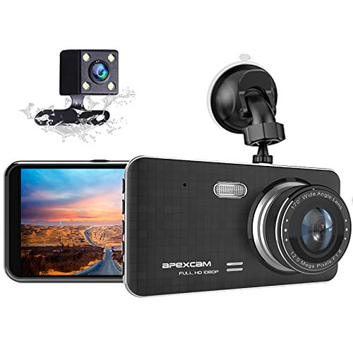 "Dash Cam for Car Front Rear Dual Car Camera 4"" IPS 1080 Driving Recorder 170°Wide Angle with Backup Camera,G-Sensor, WDR Loop Recording,DVR Parking Monitor,Night Vision,Motion Detection[2021 New]"