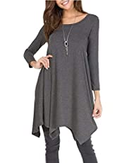LONGYING Women's Casual Solid Color Long Sleeve Round Neck Loose Dress Pockets Lrregular Hem Dress