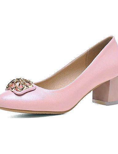 ZQ Zapatos de mujer-Tac¨®n Robusto-Tacones / Punta Redonda-Tacones-Oficina y Trabajo / Casual-PU-Negro / Rosa / Blanco / Beige , pink-us10.5 / eu42 / uk8.5 / cn43 , pink-us10.5 / eu42 / uk8.5 / cn43 white-us9.5-10 / eu41 / uk7.5-8 / cn42