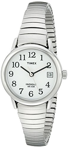 Timex Women's T2H371 Easy Reader Silver-Tone Stainless Steel Expansion Band Watch (Light Dial Womens Silver)