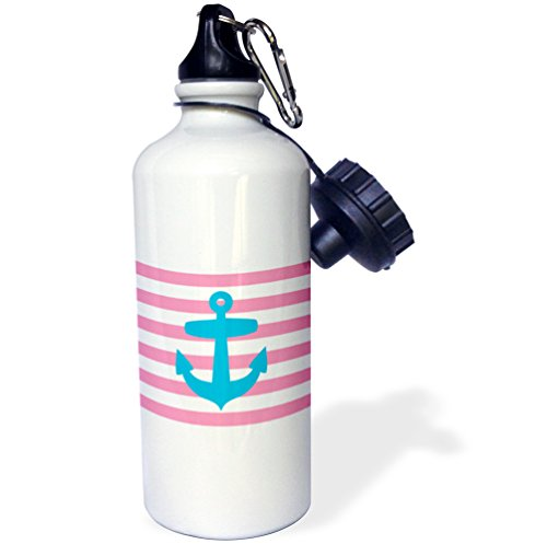 "3dRose wb_57473_1 ""Nautical light blue anchor with coral red or pink sailor stripes pattern French Breton Stripe"" Sports Water Bottle, 21 oz, White"