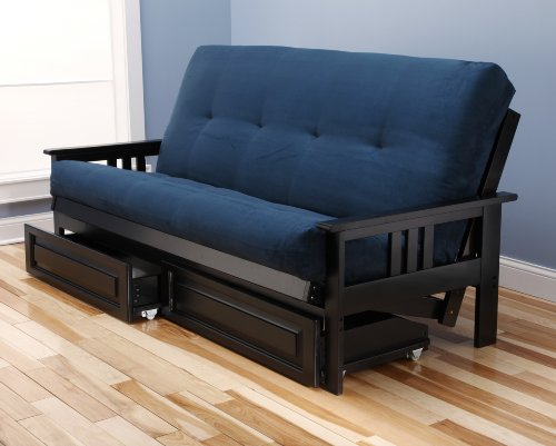 Monterey Full Size Futon Sofa and Drawer Set, Black Painted Hardwood Frame And Soft Suede Innerspring Mattress, Navy (Daybed Mission Frame)