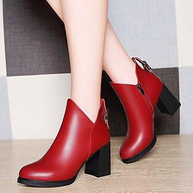 LFNLYX Mujer-Tacón Robusto-Botas a la Moda-Botas-Oficina y Trabajo / Casual-Sintético-Negro / Rojo Black