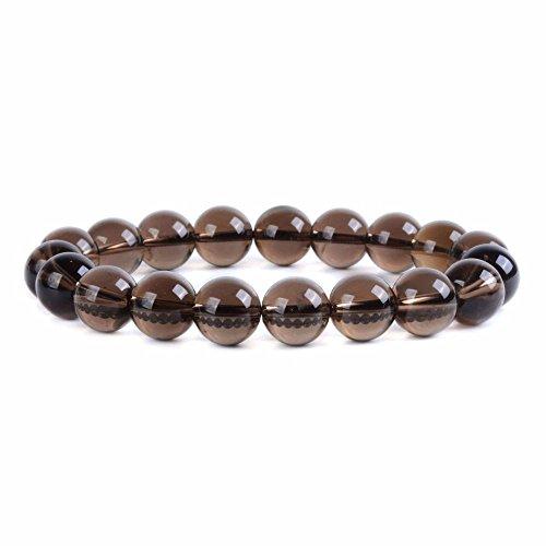 (Natural Smoky Quartz Gemstone 10mm Round Beads Stretch Bracelet 6.5