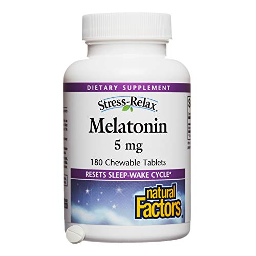 Stress-Relax by Natural Factors, Melatonin 5 mg Chewable, Sleep Aid Without Drowsy Side-Effects, Peppermint, 180 tablets (180 servings)