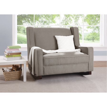 Comfortable Relaxing Double Rocker, One and a Half Times as Wide as a Regular Rocker, Perfect Place to Curl Up for Story Time with Your Child, Solid Wood Feet, Dark Taupe + Expert Guide