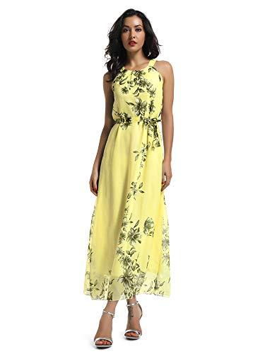 OCHENTA Women's Sleeveless Halter Neck Floral Print Chiffon Maxi Dress, Boho Beach Wear Yellow M