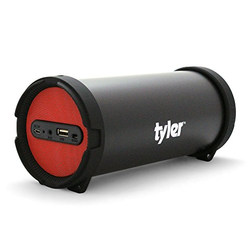 Tyler Portable Wireless Bluetooth Speaker TWS402-RD, Indoor/Outdoor 2.1 Hi-Fi Stereo Cylinder Loud Speaker, with Dual High Performance Drivers, Aux Line-In, FM Tuner, and USB Port, Red