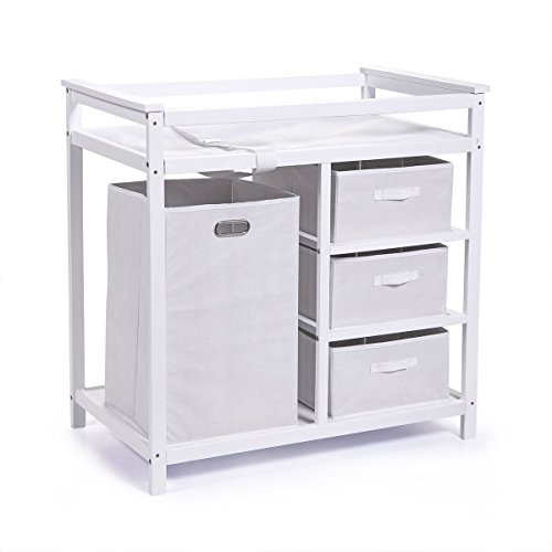 LAYMOON Badger Basket Changing Table Wood Nursery Diaper Changing Table for Infants Babies White
