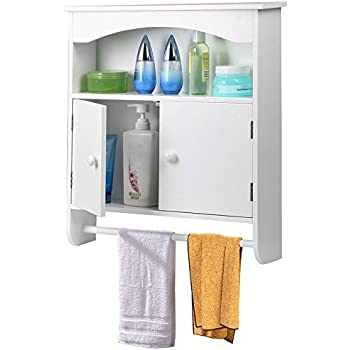 Amazon.com: World Pride White Wooden Bathroom Wall Cabinet Toilet ...