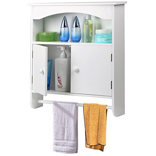 Yaheetech White Wooden Bathroom Wall Cabinet Toilet Medicine Storage Organiser Cupboard 2 Door with Bar Shelf Unit (Medicine Cabinet With Towel Bar)