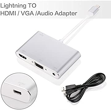 HDMI VGA AV Adapter Conventor,GrayRabbit Video Audio Adapter for iPhone to HDMI VGA Converter and Plus Series iPad iPod to HDTV Projector Monitor Sliver