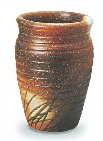 信楽焼陶器 傘立 ロクロ目なびき草 自然灰釉 B 高50cm MA354 B00DI33AEY