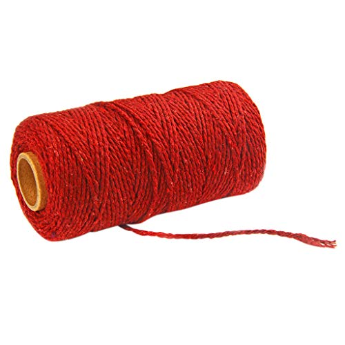 - Cotton rope,Hoshell 100m Long/100Yard Pure Cotton Twisted Cord Rope Crafts Macrame Artisan String (Wine red)