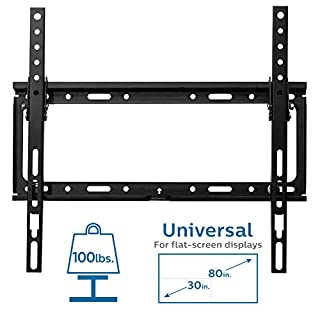 Philips Tilt TV Wall Mount for Most 30-80 Inch TVs with VESA 400x400, LED LCD Flat Screen Heavy Duty Monitor Holds Up to 100 Lbs with Lockable Safety Bar, Bubble Level, Space Saving, SQM7442/27