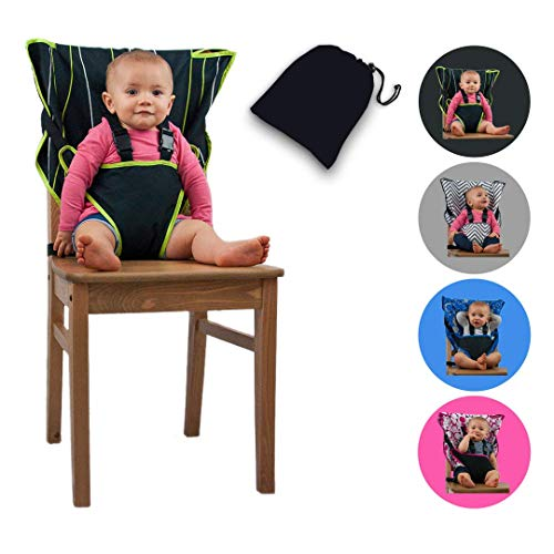 The Original Easy Seat Portable High Chair (Black) - Quick, Easy, Convenient Cloth Travel High Chair Fits in Your Hand Bag So That You Can Have It with You Everywhere for a Happier, Safer Toddler (My Little Travel High Chair)