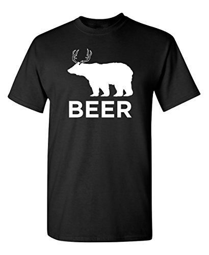 Bear Deer Beer Mens Novelty Sarcastic Drinking Funny T Shirt XL Black