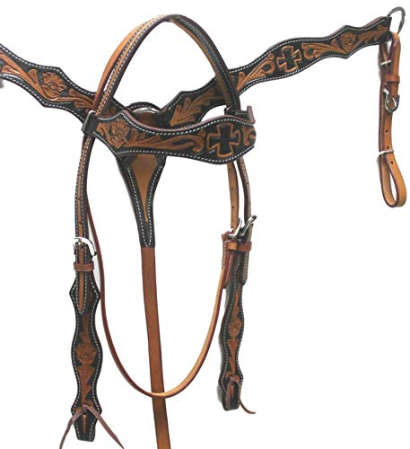 D.A. Brand Antique Brown/Black Tooled Headstall Breast Collar Set Horse Tack (Tooled Breast Collar)